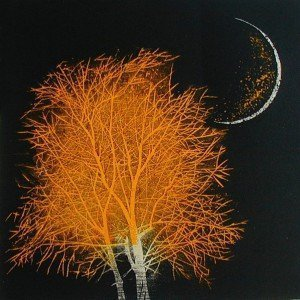 Moon-&-Tree in Ancient City (small yellow) by Yoshikazu-Tanaka