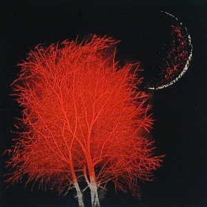 moon and tree in ancient city (small red) Yoshikazu Tanaka