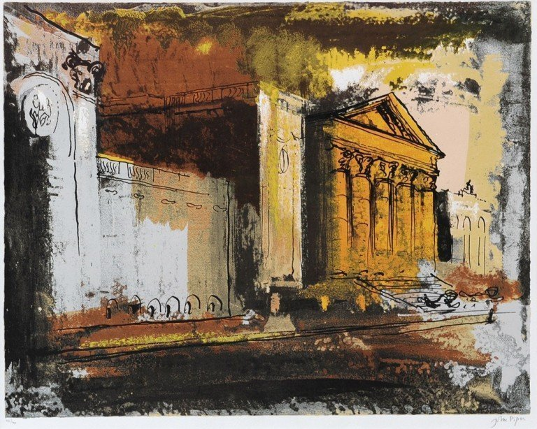 John Piper_Stowe, South Side of the House