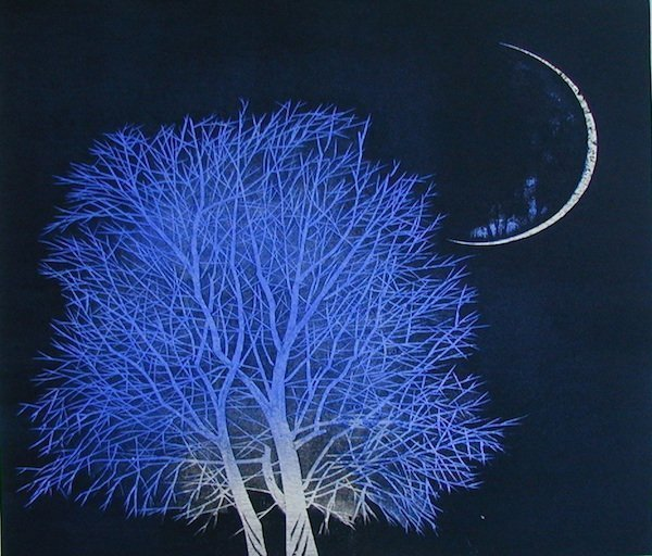 Moon and Tree in Ancient City No 3 by Yoshikazu Tanaka