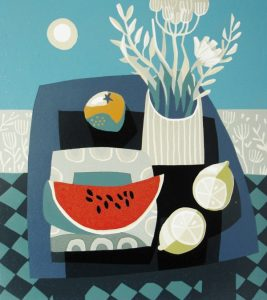 Watermelon and Blue Table by Jane Walker
