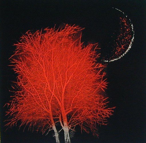Moon & Tree in Ancient City (red-small)