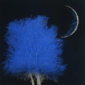 tree-&-moon-in-ancient city No 2 (large blue) Yoshikazu Tanaka
