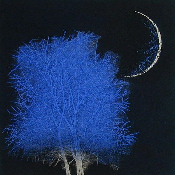Moon & Tree in Ancient City (blue-large)