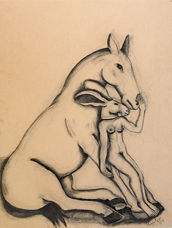 Girl Leaning on Horse_Sophie Ryder