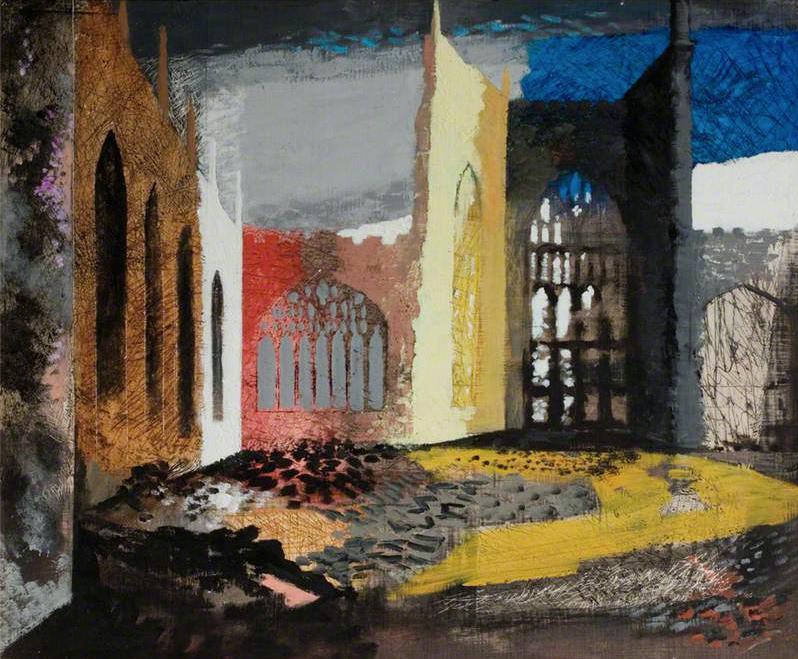 Interior of Coventry Cathedral 1940_John PIper