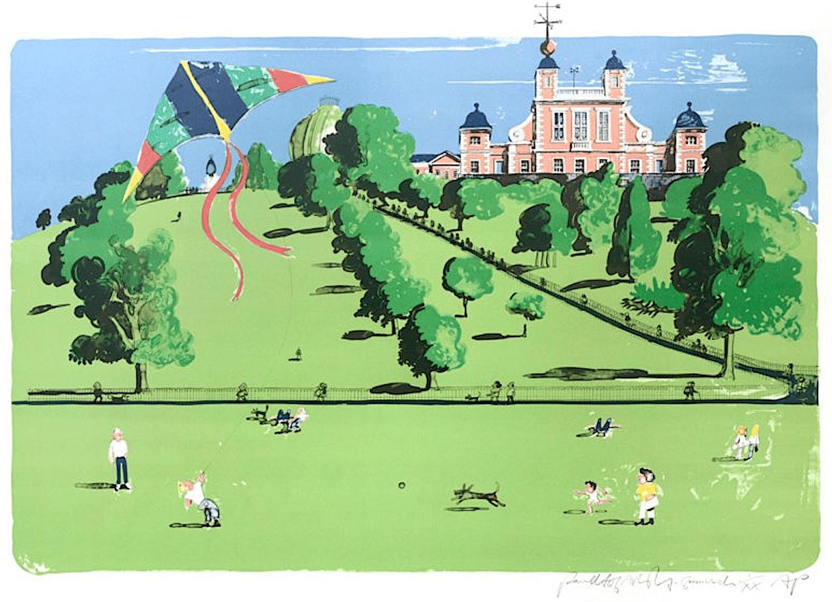 Kite Flying, Greenwich Park_Paul Hogarth