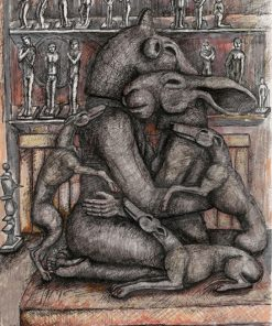 Kneeling Lovers with Dogs by Sophie Ryder