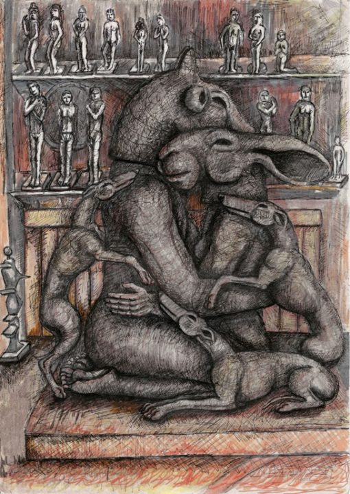 Kneeling Lovers with Dogs by Sophie Ryder web