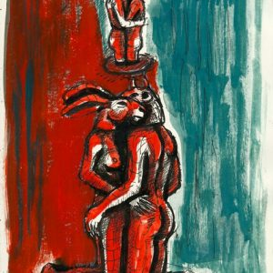Kneeling and Hugging Lovers by Sophie Ryder