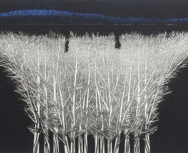 Moon Light Purified Night (blue-landscape) by Yoshikazu Tanaka