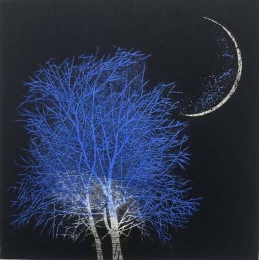 Moon and Tree in Ancient City ( blue small)
