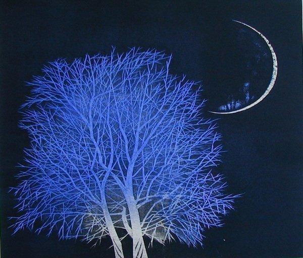 Moon and Tree in Ancient City No 3 by Yoshikazu Tanaka